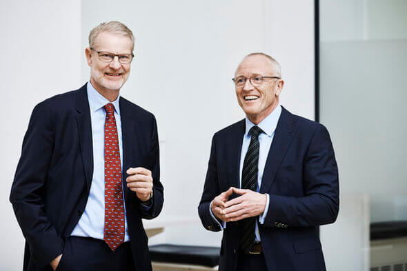Søren Holst, President of Brüel & Kjær (left), and Andreas Hüllhorst, President of HBM (Image: HBM)