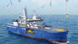 Das neue Offshore-Serviceschiff für die Offshore-Windparks EnBW Hohe See und Albatross (Quelle: Bibby Marine/Siemens Gamesa)