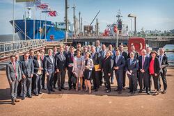 Projektpräsentation in Stade zum Bau eines LNG-Terminals (Bild: HagerPress/Seehafen Stade e.V.)