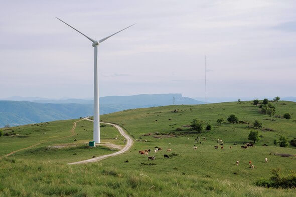 A wind turbine in the Romanian Carpathians. (Image: © 2018 EPFL)