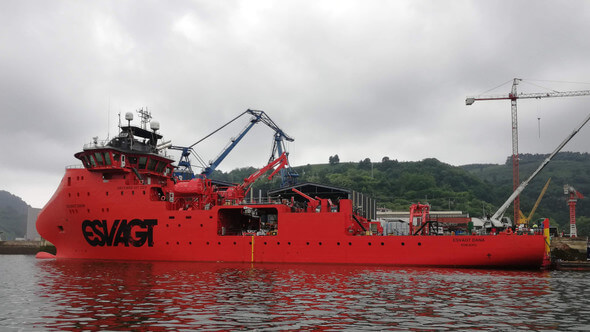 'Esvagt Dana' - a SOV (Service Operation Vessel), which will be assigned to GE on the Merkur Offshore Wind Farm in the German sector of the North Sea (Image: Esvagt)