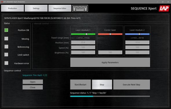 Mit der Steuerungssoftware SEQUENCE Xpert lässt sich das bewährte Laserpositioniersystem SERVOLASER Xpert von LAP ganz ohne SPS konfigurieren, steuern und überwachen – einfach per Mausklick auf dem Tablet oder PC (Bild: LAP)