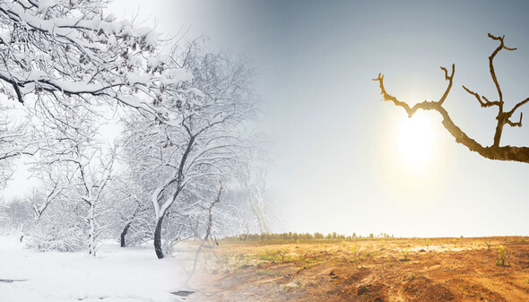 Laboratory scientists have found that mid-latitude regions of Northern Hemisphere continents have a large seasonal cycle of atmospheric temperature, with frigid winters and hot summers (Image: LLNL)