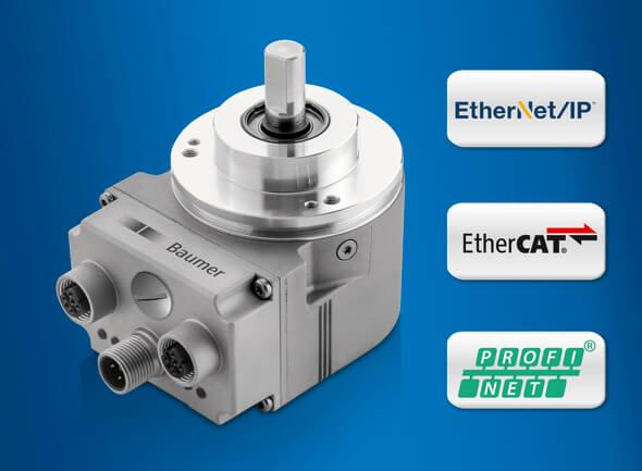 Die kompaktesten Ethernet-Absolut-Drehgeber sind perfekt geeignet für schnelles und präzises Positionieren (Bild: Baumer)