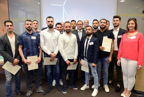 """Pressekonferenz zum Pilotprojekt """" Empower Refugees """" mit anschliessender Zertifikatüberreichung (Foto: Elke Brochhagen)"""