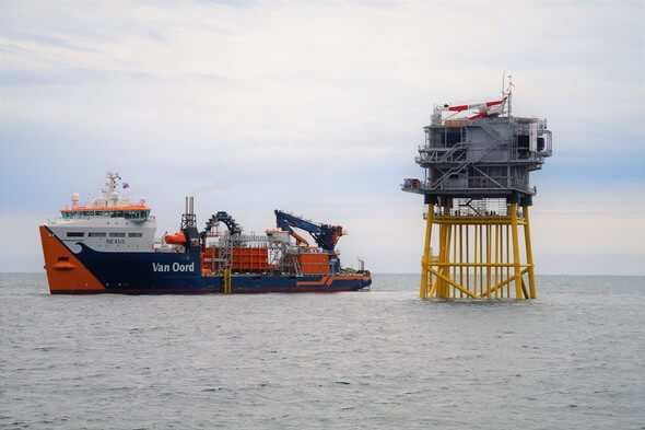 Cable-laying vessel Nexus installing sea and land cables (Image: Van Oord)