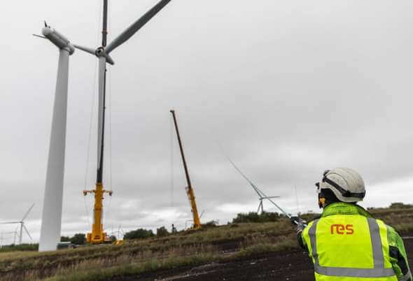 RES' O&M team temporarily remove the blades of a 15-year old turbine at Aultahullion (Image: RES)