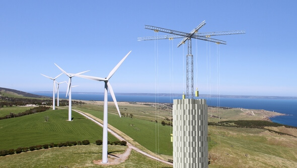 Energy Vault storage tower co-located with wind farm (Images: Energy Vault /Business Wire)