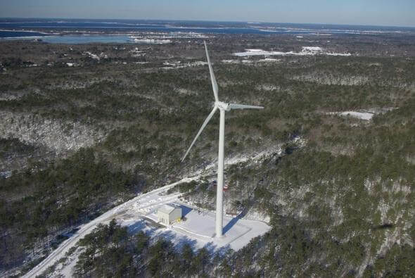 Wind turbine for the military base Otis Air National Guard Base in Cape Cod (Image: EPA)