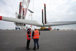 Überwachung der Rotorverladung in Wilhelmshaven  (Bild: Lahmeyer international)