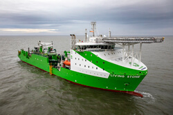 Tideway's new cable and installation vessel 'Living Stone' is one of over 35 vessels involved in the installation (Image: Ørsted)