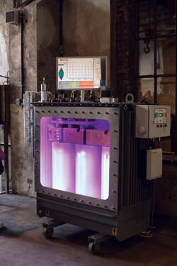 Der Ortsnetztransformator transforma.smart wird auf der Messe gezeigt (Bild: Ormazabal)
