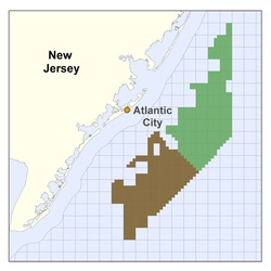 The New Jersey Wind Energy Area, where hundreds of wind turbines may eventually be built, is shaded green and brown. (Image: BOEM)