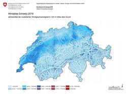 Karte der Windgeschwindigkeiten der Schweiz 2019 auf 125m über Grund (Bild: BFE)