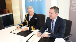 Left to Right: Commodore David Elford and Matthew Wright, Ørsted MD sign the Armed Forces Covenant (Image: Ørsted)
