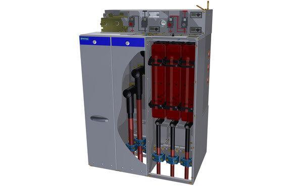 Der Sicherungsanbau hat unter anderem einen integrierten A-Konus für den Anschluss von vorkonfektionierten MS-Kabelanbindungensowie neue Weitbereichskabelschellen (Bild: Ormazabal)