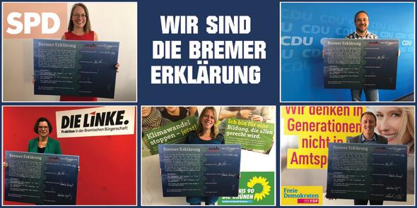 Von oben links nach oben rechts: Sascha Karolin Aulepp (SPD), Kristina Vogt (DIE LINKE), Dr. Maike Schaefer (DIE GRÜNEN), Prof. Dr. Hauke Hilz (FD)) und Heiko Strohmann (CDU) (Bild: wab)