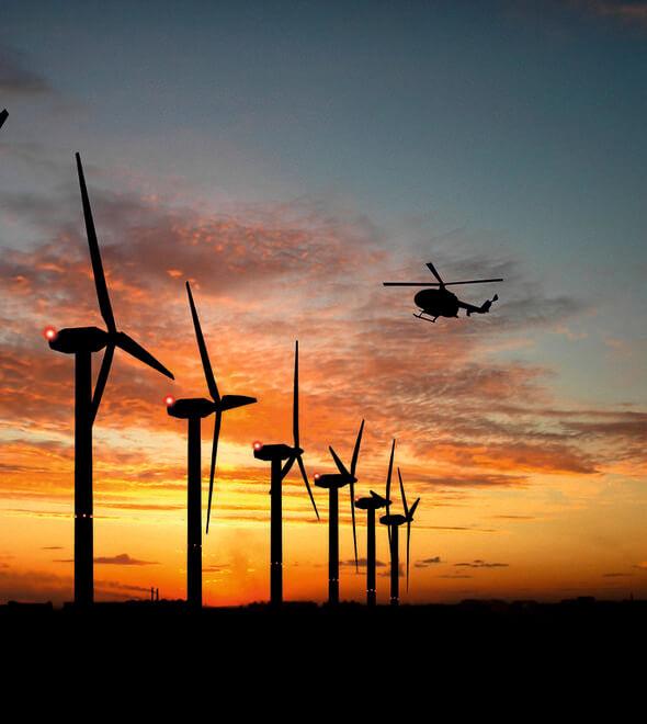 Die Lichter der Windkraftanlagen blinken dank Radartechnik nur noch, wenn sich ein Luftfahrzeug nähert (Bild: Dark Sky GmbH)