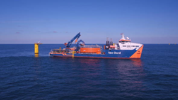 Nordness laying cables at Deutsche Bucht offshore Wind Farm (Images: Van Oord)