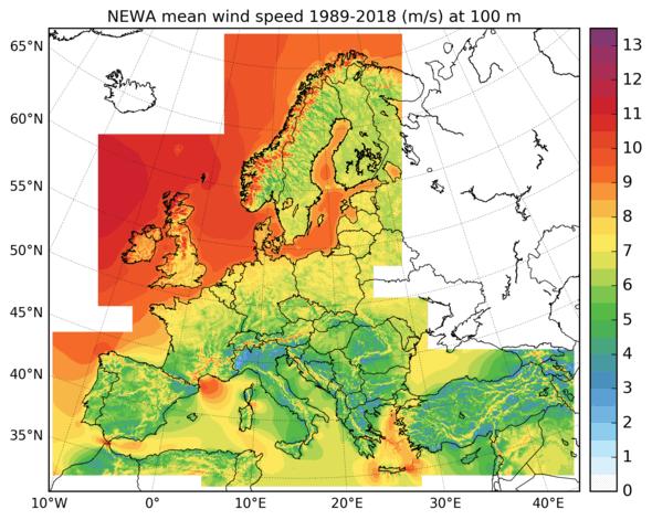 Langjähriges Mittel der Windgeschwindigkeit (1989-2018) in 100 m Höhe für Europa. (Bild: Fraunhofer IWES)