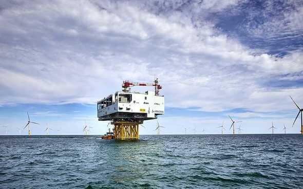 Die Umspannplattform Arkona im gleichnamigen Offshore-Windpark in der Ostsee (Bild: 50Hertz/Jan Pauls)