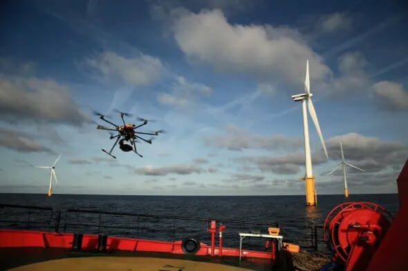 EWPL Ocean will inspect Offshore WTG Blade Assessment more efficient through drones and AI-assessments (Image: Esvagt)