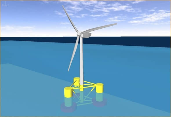A computer model of an offshore wind turbine supported by a semi-submerged triangular structure (Image: Manchester Metropolitan University)