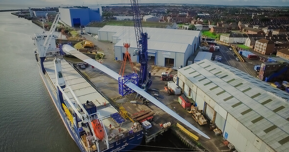 At 107 meters, LM Wind Energy's blades for the Haliade-X 12 MW are the world's longest. After loading the blade in Cherbourg, France, it arrived in Blyth, England, where it will be tested at a later date (All Images: GE Renewable Energy)