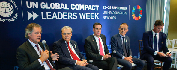 F.r.t.l.:, José Manuel Entrecanales, CEO and chairman of ACCIONA; Jean-Louis Chaussade, chairman of Suez; Kerry Adler, CEO of SkyPower; Jean-Pascal Tricoire, CEO and chairman of Schneider Electric Moderation, Mr. Paul Simpson, CEO of CDP (Image: ACCIONA)