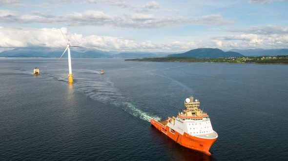 The last turbine for the Hywind Scotland project sets sail from Stord, Norway. Photo: Øyvind Gravås / Equinor