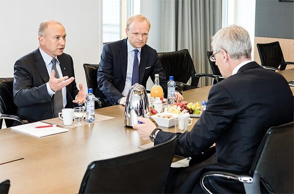 From the left, Statkraft CEO Christian Rynning-Tønnesen, Fortum CEO Pekka Lundmark and Vattenfall CEO Magnus Hall (Image: Statkraft)