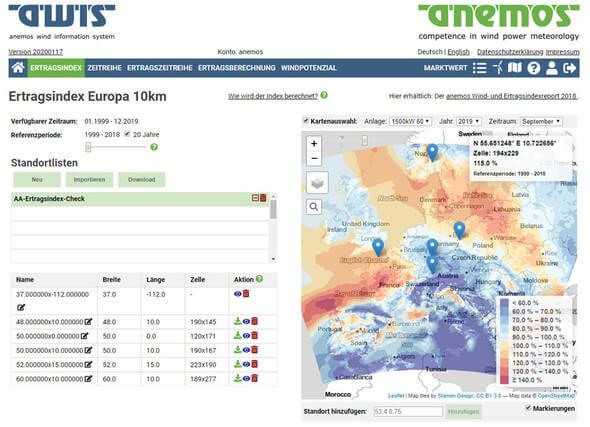 Webansicht Ertragsindex Europa 10km (Bild: anemos Gesellschaft für Umweltmeteorologie mbH)