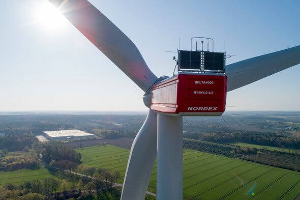 Noch eine Nummer kleiner: Die Delta4000-Turbine von Nordex mit einer Kapazität von 4 bis 4,5 MW (Bild: Nordex)