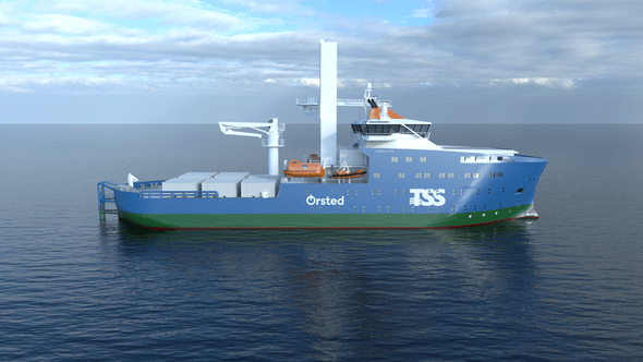 Mock-up of the Service Operations Vessel to be deployed on Ørsted's Greater Changhua offshore wind farms. The detailed design of the vessel is yet to be finalized (Image: Ørsted)