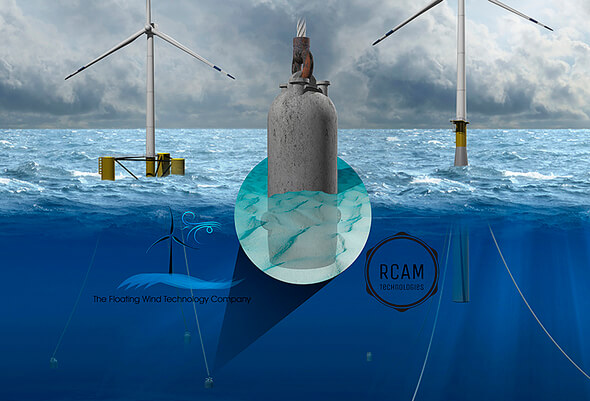 Illustration of a 3D-printed concrete suction pile anchor for connecting floating wind turbines to the seabed via mooring lines. (Image: RCAM Technologies)