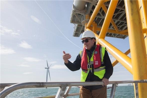 Ignacio Galán visits West of Duddon Sands Wind Farm (Image: Iberdrola)