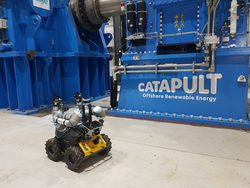 'Husky' undergoing robot safety compliance and self-certification trials at ORE Catapult's National Renewable Energy Centre in Blyth, Northumberland (Image: ORE Catapult)