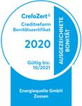 Energiequelle GmbH erneut mit Bonitätszertifikat CrefoZert ausgezeichnet