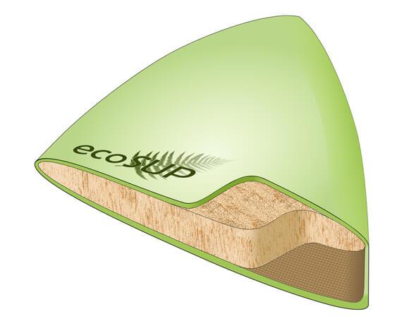 Der Querschnitt durch das Paddleboard zeigt den Sandwich-Aufbau (Bild: Fraunhofer WKI / Christoph Pöhler)