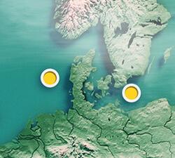 Die Lage der zwei von Energinet geplanten Energieinseln in Nord- und Ostsee (Bild:Energinet)