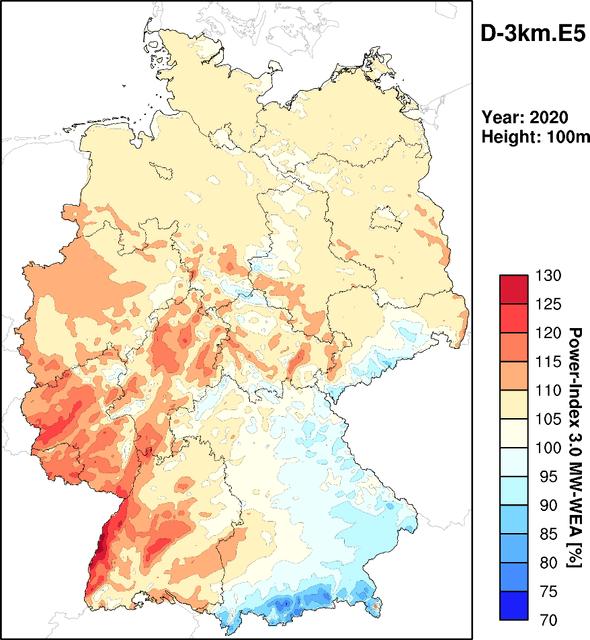 """Abb. 1: Ertragsindex für Deutschland 3km (Jahresindex 2020), entnommen aus dem """"Wind- und Ertragsindex Report für das Jahr 2020"""" (www.anemos.de/Windreport.pdf) (Alle Grafiken: anemos)"""