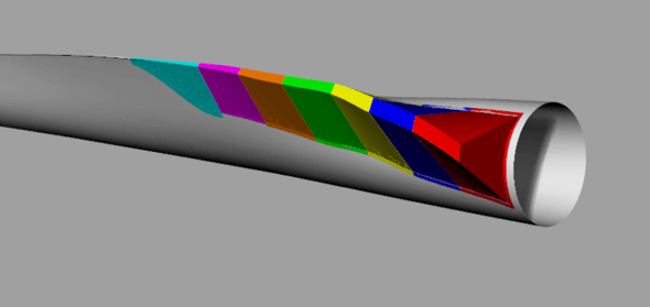 The trailing edge spoiler EvoFlap for the blade root area, divided into 7 segments. (Image: evoblade)