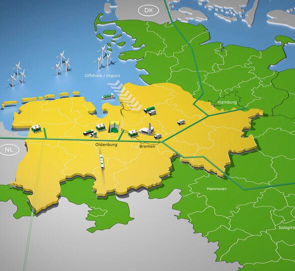 """Baustein für eine europäische Wasserstoffwirtschaft: Das Projekt """"Clean Hydrogen Coastline"""" (Bild: EWE)"""