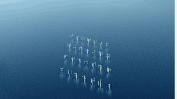 Im Offshore-Bereich kann man die Netzanordnung der Vertikalachser gut erkennen (Bild: Oxford Brooks University)