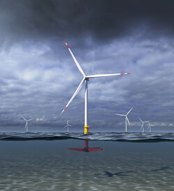 An artist's rendering of the 12 MW Floating Wind Turbine concept GE Research and Glosten are designing as part of their ATLANTIS program project with ARPA-E (Image: Glosten)