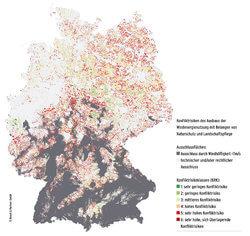 Karte zu möglichen Standorten für Windenergie in Deutschland (Bild: TH OWL)