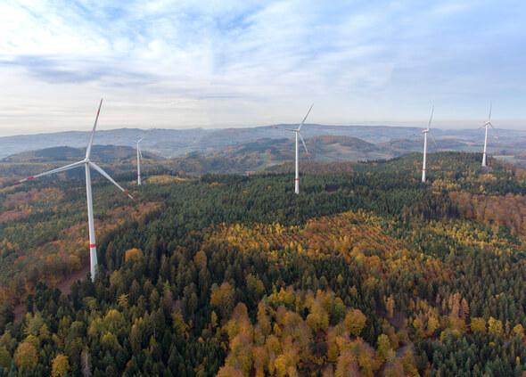 Windpark Kahlberg. Ein gemeinsames Projekt von GAIA und EnBW. Inbetriebnahme: 2018. (Bild: GAIA)