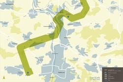 Bild Suedlink = Ausschnitt Verlauf der Stromtrasse SuedLink im Raum Heilbronn inkl. Schachtstandorte (Bld: DMT)