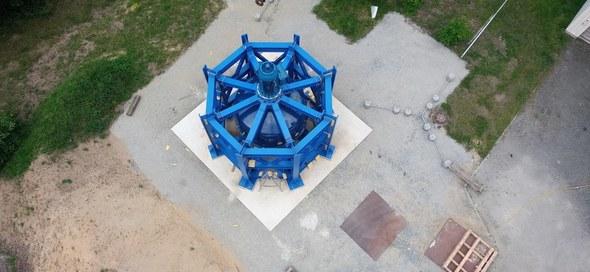 Das Foto zeigt den fertig montierten RKS-Demonstrator von oben betrachtet (Bild: Stiftungsprofessur für Baumaschinen)