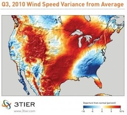 Renewable energy information service releases wind performance maps for the third quarter of 2010 covering both Europe and North America